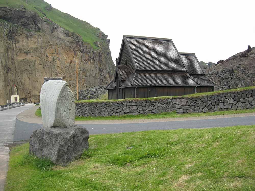 Scandinavian stave church in Westman Islands