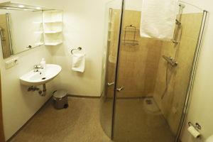 The bathroom in Guesthouse Lambastadir
