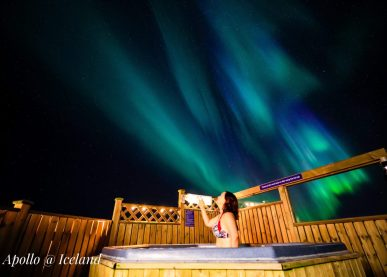 Northern lights seen from the geothermal hot tub