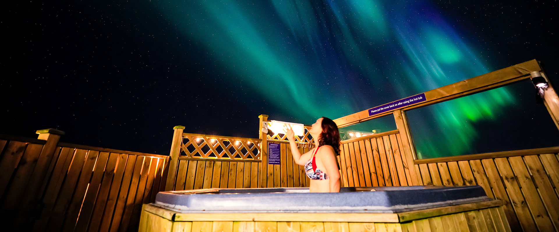 Northern light view in the geothermal hot tub