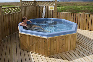 Relax in the geothermal hot tub